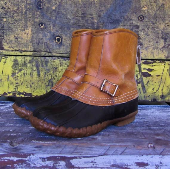 vintage Maine Hunting Boots LL Bean strap and buckle leather duck boots shoes fall winter made in USA vtg womens 9 LM