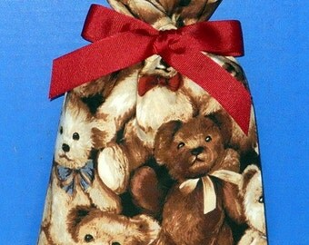 Teddy Bear Small Fabric Gift Bag - Children s Toy, Stuffed Animal, Brown, Tan, Beige, Red, Blue, All Occasion