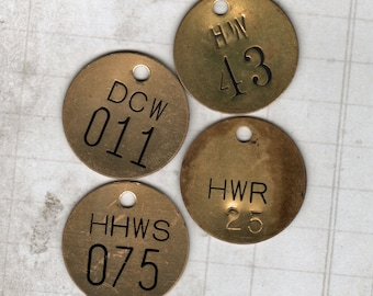 Brass Tags Number Tag 4 pieces Metal