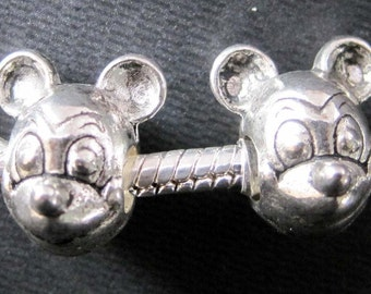 15Pcs Alloy Metal Mickey Mouse Head Separator Spacer Loose Beads Finding--15Pieces---14mm x 5mm  ja0080