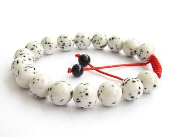 10mm Adjustable Handmade Spot White Stone Beads Round Beaded Charm Bracelet  T2855