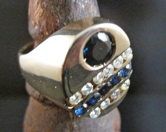 Hot, Vintage 1980, Mens 14K Diamond - Sapphire Signet Ring, Size Eight And One Half, FREE Shipping To Lower 48, FREE Pouch