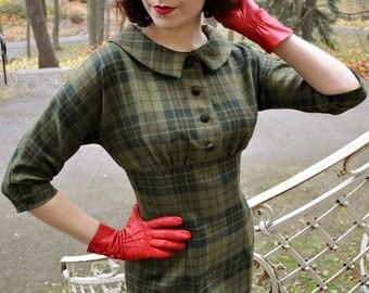 50s plaid dress in green wool, sizes US 0 to 16 / wiggle dress / winter dress / vintage style dress / made to order in all sizes