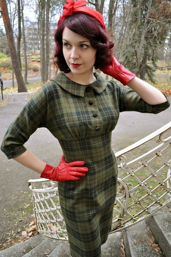 Green plaid dress, 50's style wool dress, Marcia -dress, made to order, sizes 2 to 16