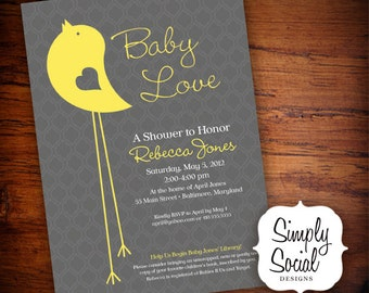 Little Bird Baby Shower Invitation Yellow and Grey Pattern