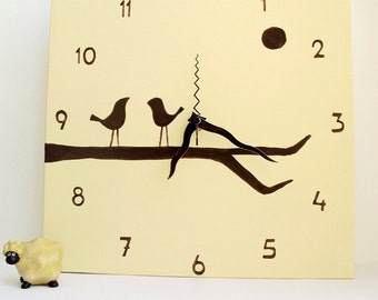 Wall clock- Hand painted on canvas-  birds on a branch-Chocolate and cream clock, kitchen clock