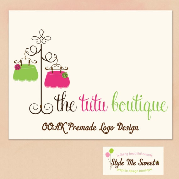 Premade Logo Design OOAK - Adorable Hanging Tutus Hand Drawn Small Business Photography Photographer Logo Never Resold