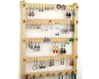 Jewelry Organizer - Jewelry Holder, Hanging, Wood, Basswood, Necklace bar. Holds 72 pairs, 8 pegs. Earring Holder - Earring Display