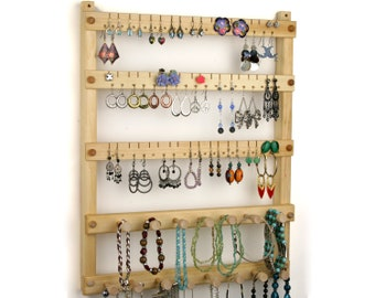 Earring Holder - Jewelry Organizer, Hanging, Wood, Basswood, 2 Necklace Bars. Holds up to 54 pairs of Earrings, plus 15 pegs.