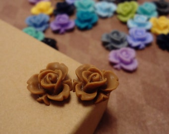 20pcs (Matte Mocha) Rainbow Iris Rose -CMVision Exclusive-11.5mm Resin Flower Rf05 09