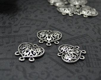 8pcs of Antiqued Silver Half 3D Victorian Filigree Heart Connector Charm Pendant Drop Q08-Rd