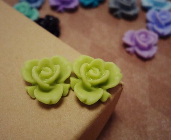 20pcs (Matte Medow Green) Rainbow Iris Rose -CMVision Exclusive-11.5mm Resin Flower RF05 -12