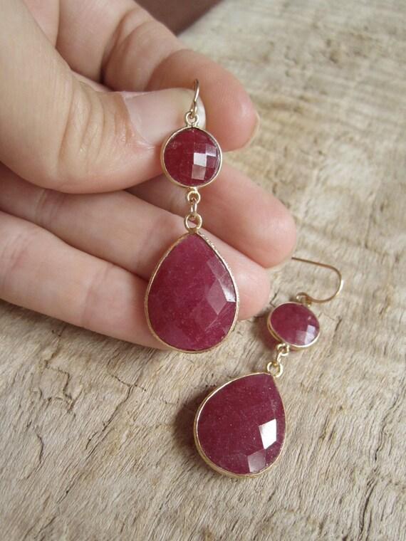 Genuine Ruby Earrings Red Double Drops Gold Vermeil Bezel Set