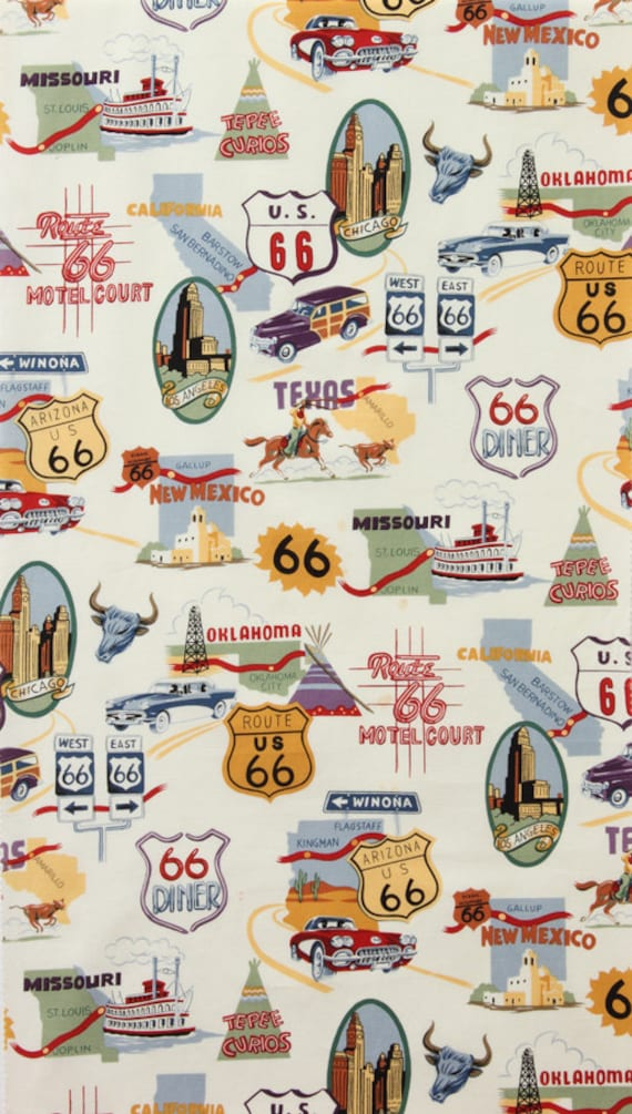 Alexander Henry - Nicole's Prints - Route 66 - Natural - 1 Yard