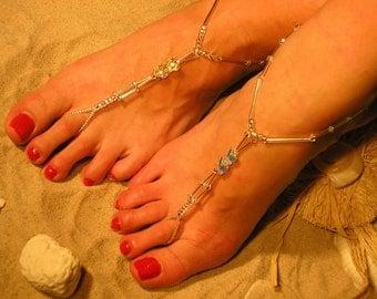 Happi Feet Handmade Pair Barefoot Sandals with Swarovski Crystal Butterflies