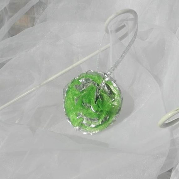 Lime Green Silver Christmas Flower Ornament