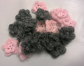 10 Handmade Mini Crochet Flower Appliques Sewing Bow Gray and light pink colors for garland, scrapbooking, hair clippies