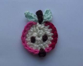 2 Mini Apples handmade crochet apples appliques