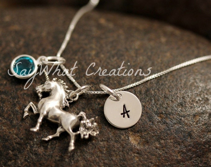 Sterling Silver Mini Initial Charm Necklace with Unicorn Charm and birthstone