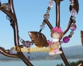 Clay Girl  w/Bear Bead Necklace Girls Sterling Silver Czech Glass Handmade Custom