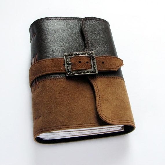 Handmade leather journal with vintage buckle closure, sketchbook, diary, 240 pages, blank paper