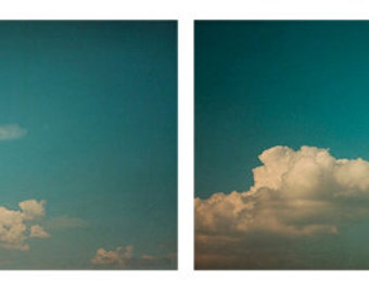 Cloud Set of 2, SAVE 20% OFF 8x12 Fine Art Photography Prints Dreamy, Whimsical Cloud photos Summer Home Decor Wall Art Teal Blue