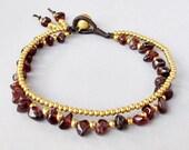 Casual Double Line Bracelet with Garnet Stone B177