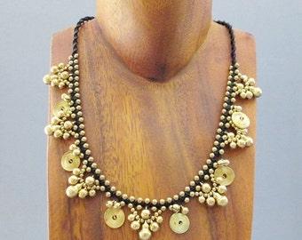 Boho Fancy All Brass Bead Necklace