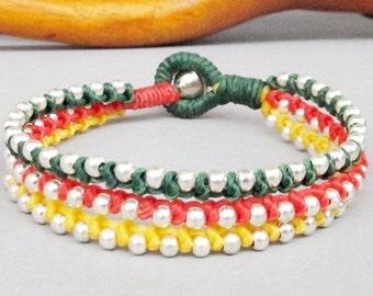 Friendship Multi Line Green Grenadine Yellow Wax Cord with Silver Colour Bead Bracelet B157