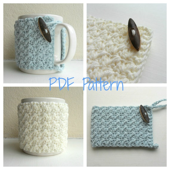 Mug Cozy Crochet Pattern Cup Cozy Mug Hug Pdf From