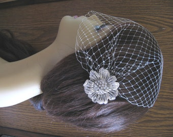 Birdcage Veil and a  Hair Comb (2 Items) Rhinestone Bridal Hair Comb  Weddings  Silver  Rinestone
