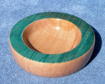 Curly Maple Bowl with Turquoise Dyed Rim