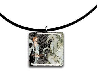 Dragonfly Faerie and Dragon, fantasy artwork, Glass tile pendant, fairy necklace, sage green, wearable artwork, handmade jewelry