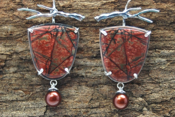 SALE!  jasper and pearl branch earrings in sterling silver- artisan jewlery- one of a kind- Autumn Woods