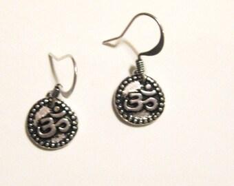 Small Silver Om Dangle Earrings