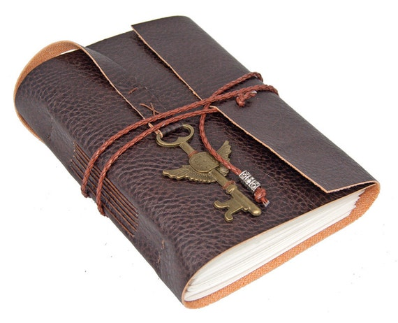 Brown Vegan Faux Leather Journal with Winged Clock Charm Bookmark