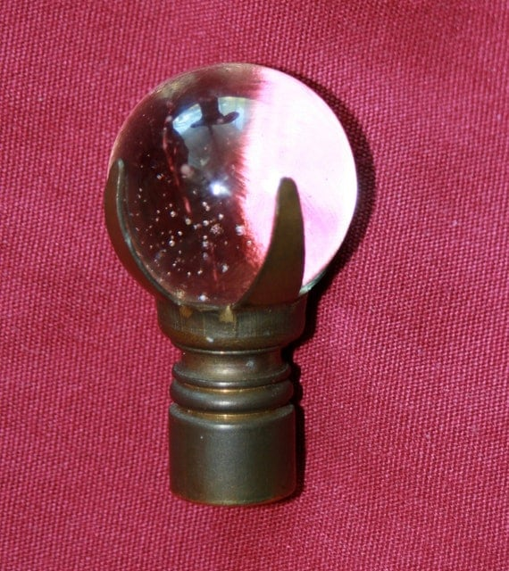 Antique Glass Crystal Ball In Brass Claw Lamp Finial Top