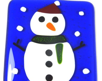 Festive Fused Glass Coasters with Christmas Snowman - set of 2
