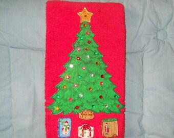 Christmas Towel, Christmas Bathroom Towel, Christmas Kitchen Towel, Appliqued Christmas Tree Towel, Hand Painted Christmas Tree Towel