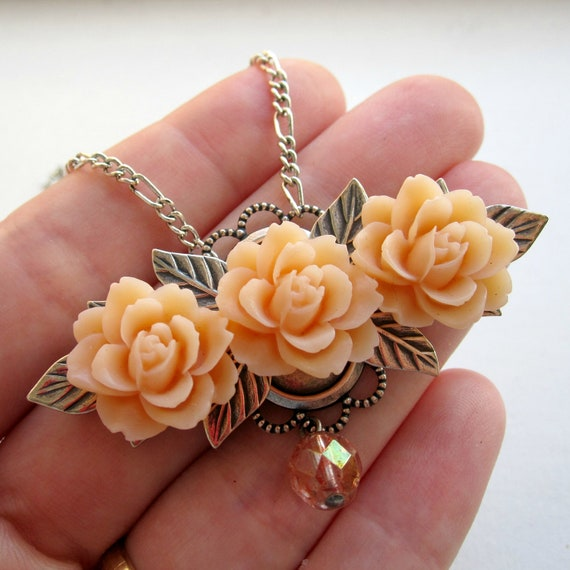 Flower Necklace - Peach - Blush - Bridal Jewelry - Silver Necklace - Romantic - Floral Necklace - Roses