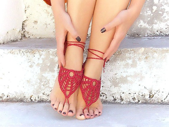 Crochet BURGUNDY barefoot sandals, nude shoes, foot jewelry, wedding, sexy, lolita, yoga, bellydance, stempunk