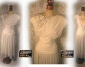 Vintage White Draped Party pinup Cocktail dress sequins beaded applique on one shoulder