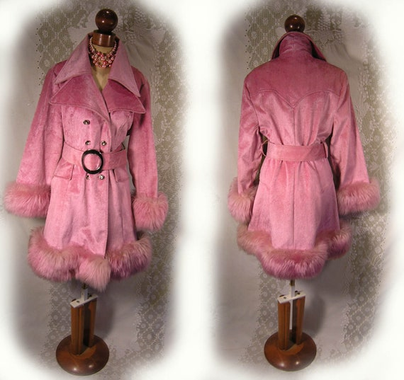 70s pink vintage coat with real fur, (fox fur I believe) cuffs and hem,
