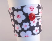 Coffee Sleeve Grey White Red Floral for Woman Girl Adjustable with Button