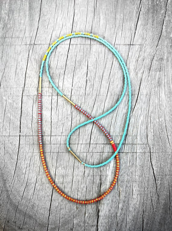 Tribal Long Layering Necklace, UNISEX, Single Strand of Turquoise Seed Beads, Brick Red and Yellow Recycled Vinyl, Funky, Mens, Asymmetrical