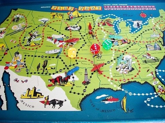 RESERVED for villageshopper -  Vintage 1950s Replogle Tray Table Map Game w/Original Package