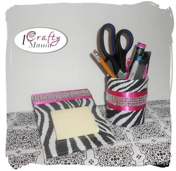 Hot Pink Zebra Bathroom Accessories: LAST ONE Girly Teen GLAM Bling Zebra Print Hot By