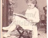 Vintage Photograph, CDV Reading Girl RESERVED