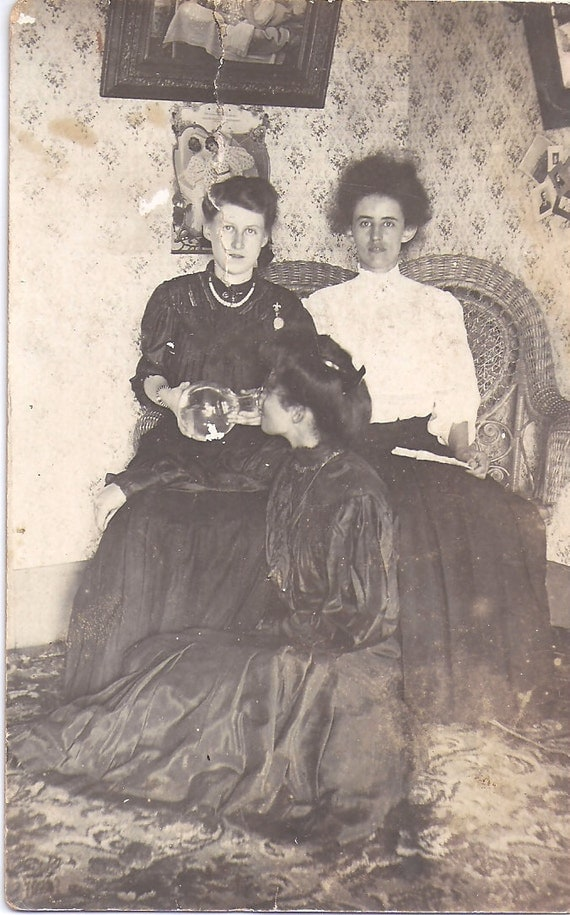 Vintage  Photograph Postcard,Strange, Unusual, Women and a Bong or flask