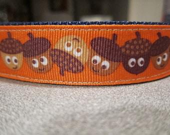 "Festive Fall Acorn 1"" Adjustable Dog Collar"
